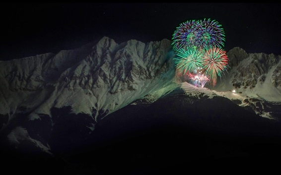 Wallpaper New Year fireworks, Alps, mountains, Austria, night