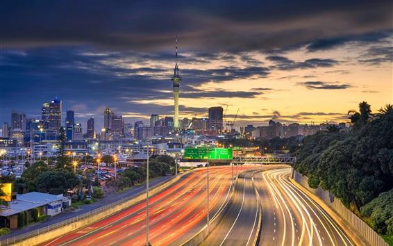 Fond d'écran Nouvelle-Zélande, Auckland, ville, nuit, route, lumières