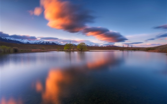 Wallpaper New Zealand, lake, trees, mountains, clouds, dusk