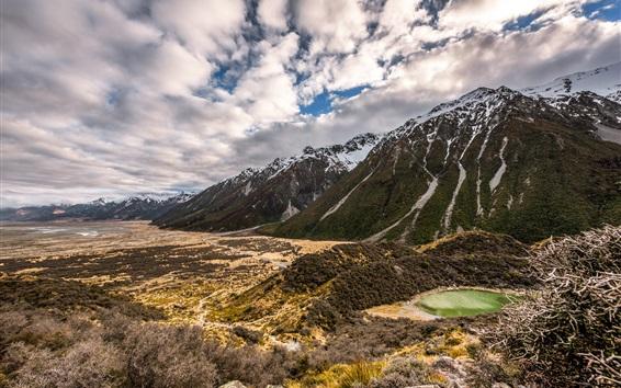 Wallpaper New Zealand, mountains, clouds, nature landscape