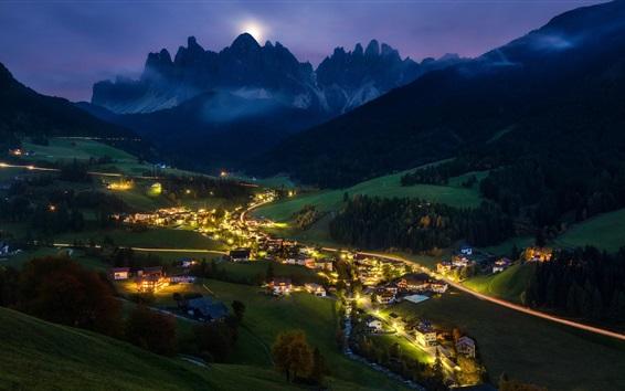Wallpaper Night, village, lights, trees, mountains, Alps