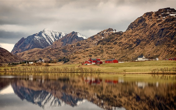 Wallpaper Norway, Lofoten, bushes, river, mountains, houses