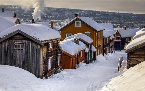 Fond d'écran Norvège, village, hiver, maisons, neige épaisse