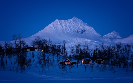 Wallpaper Norway, winter, snow, trees, mountains, house, night