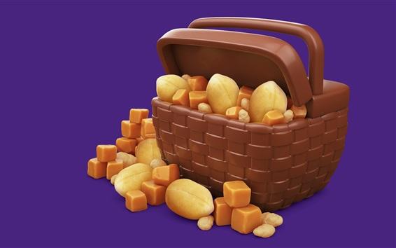 Обои Орехи, шоколад, закуски, корзина, трехмерное изображение