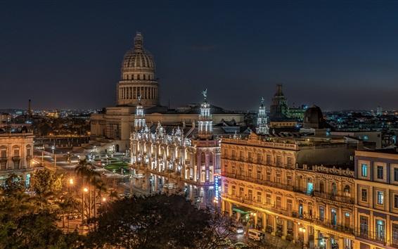 Hintergrundbilder Altes Havana, Kuba, Nacht, Stadt, Lichter, Gebäude