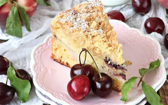 Обои Один торт, вишня, десерт