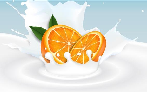Fondos de pantalla Rodaja de naranja, leche, salpicaduras