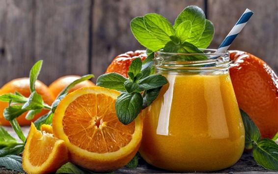 Papéis de Parede Laranjas, bebidas, frutas frescas, suco, hortelã