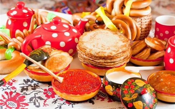 Fond d'écran Crêpes, caviar, beignet, nourriture délicieuse