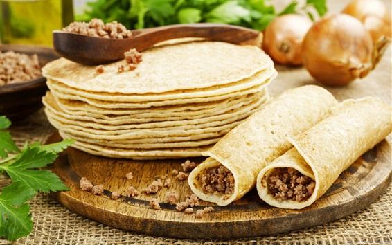 Wallpaper Pancakes, roll, food