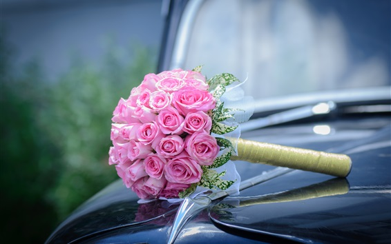 Wallpaper Pink roses, bouquet, car