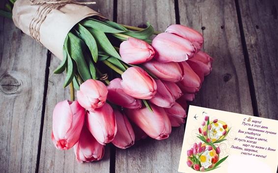 Обои Розовые тюльпаны, букет, открытка