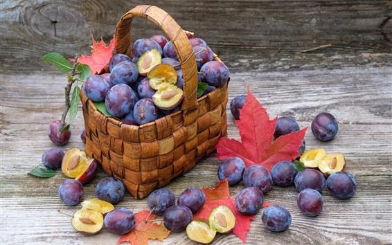 Wallpaper Plums, basket, ripe fruits