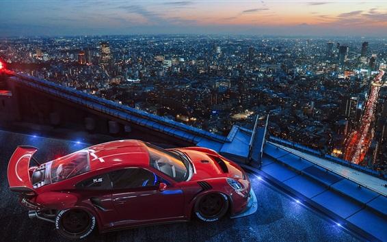 Обои Спортивный автомобиль Porsche, крыша, город