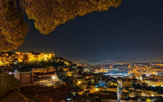 壁紙 ポルトガル、リスボン、街の夜、ライト、木、家
