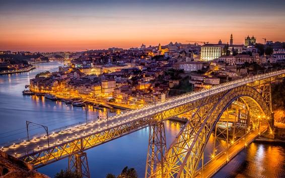 Fond d'écran Portugal, pont, nuit, ville, rivière, lumières