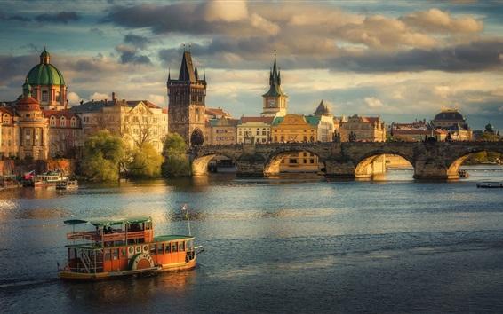 Wallpaper Prague, Charles Bridge, Czech Republic, city, river