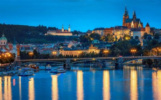 Wallpaper Prague, Czech Republic, bridge, river, city, lights, evening