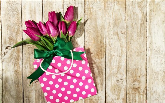 Wallpaper Purple tulips, bag, gift, wood background