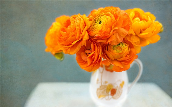Wallpaper Ranunculus, orange flowers, vase