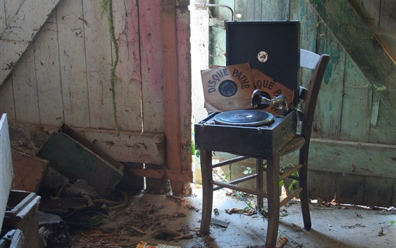 Wallpaper Record player, chair, music records, retro