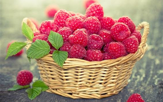 Wallpaper Red raspberry, berries, basket