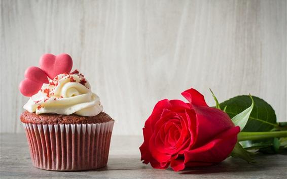 Fond d'écran Rose rouge, cupcake