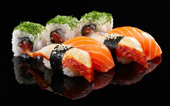 Fondos de pantalla Rollos de arroz, sushi, salmón, comida