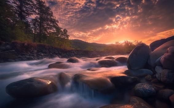 Wallpaper River, stones, sunrise, morning