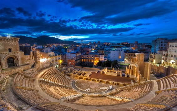 Wallpaper Roman theatre, Spain, night, lights, ruins