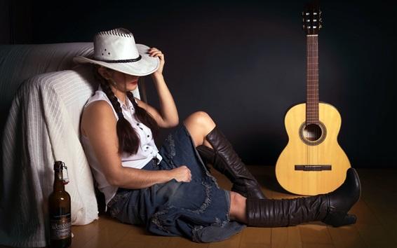 壁纸 悲伤的女孩,帽子,吉他,酒