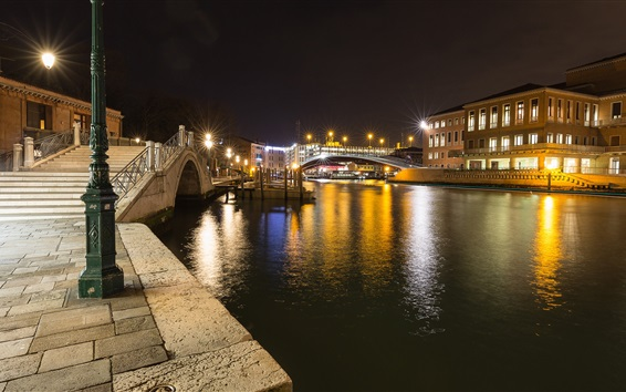 Wallpaper Santa Croce, Venice, Italy, night, river, bridge, lights