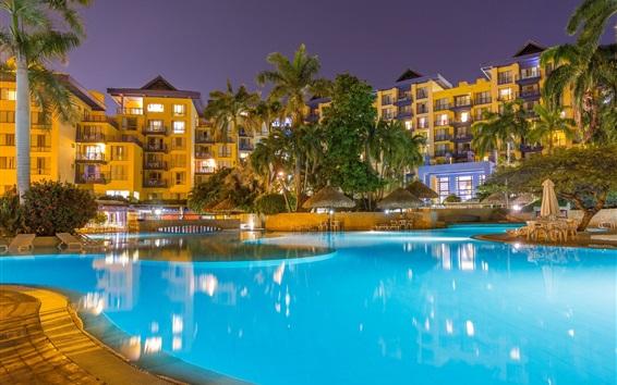 Обои Санта-Марта, Колумбия, плавательный бассейн, дома, свет, ночь