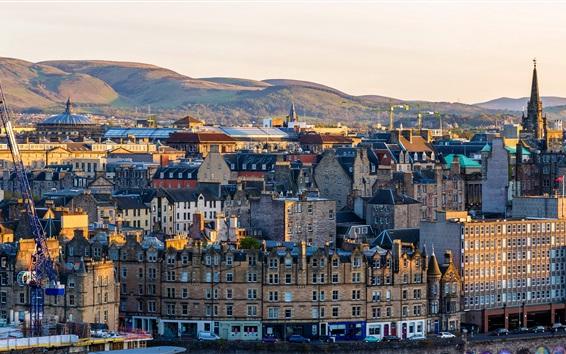 Papéis de Parede Escócia, Edimburgo, cidade, montanhas