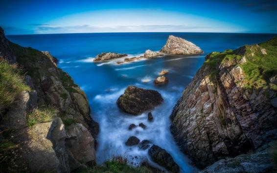 Wallpaper Scotland, coast, sea, rocks