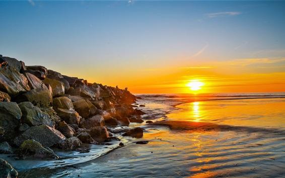 Wallpaper Sea, coast, rocks, people, dawn, sunrise