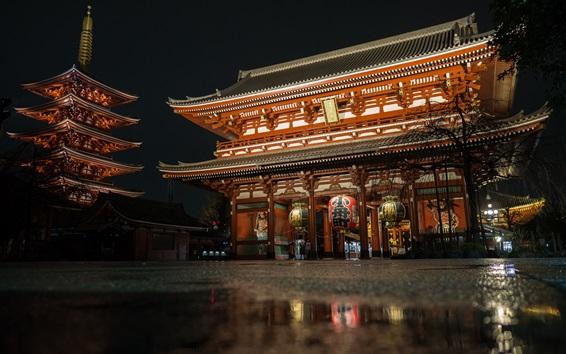 Обои Храм Сенсоджи, Япония, ночь