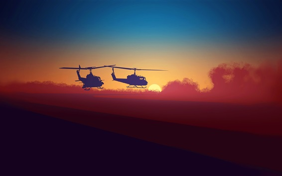 Wallpaper Silhouette, helicopter, clouds, sunset