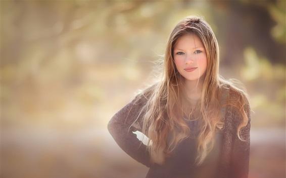 Fondos de pantalla Sonrisa de niña, retrato, mirar, bokeh