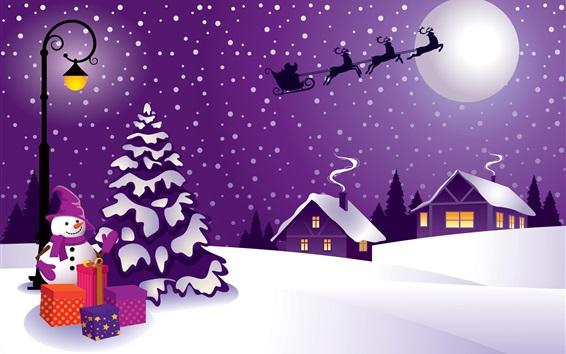 Papéis de Parede Boneco de neve, neve, veado, Natal, imagens de arte