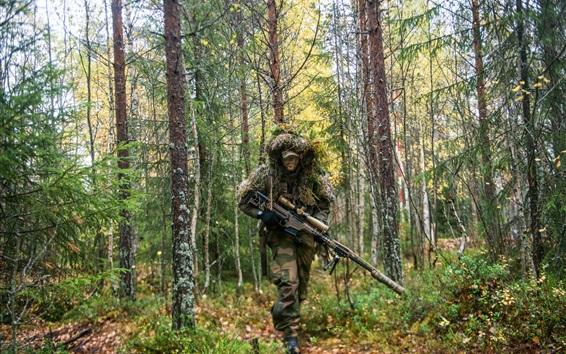 Fond d'écran Soldat, fusil, forêt, tireur d'élite