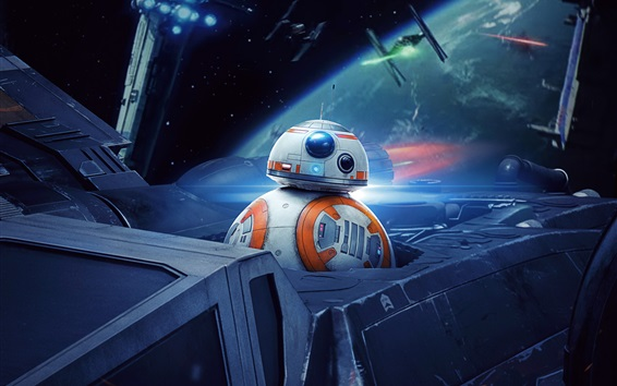 Wallpaper Star Wars, BB8 robot, spaceship