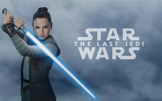 Papéis de Parede Star Wars: The Last Jedi, Daisy Ridley, espada laser