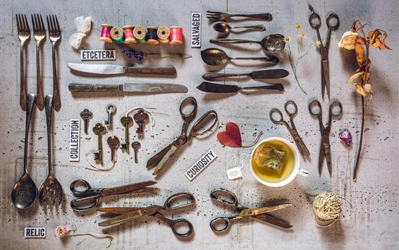Papéis de Parede Ainda vida, faca, garfo, chave, colher, tesoura, chá