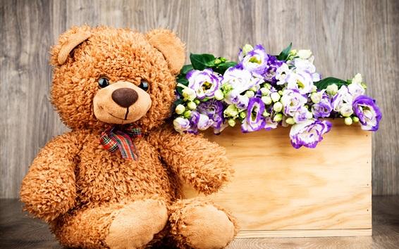 Wallpaper Teddy, toy bear, flowers