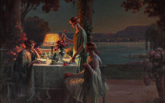 Wallpaper The tea party, evening, young women, art painting