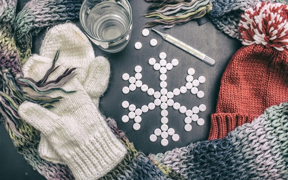 Wallpaper Thermometer, pills, one cup of water, warm clothes
