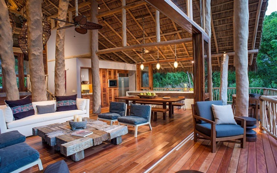 Обои Деревня в Мексике, вилла, терраса, мебель, интерьер