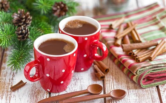 Обои Два чашки кофе, корицы